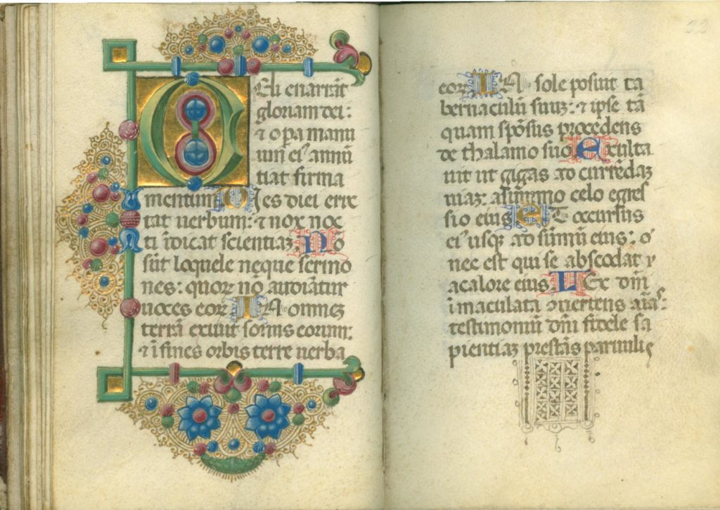 Two pages of Manuscript 3 showing ornate gold, red, blue, and green decorations and handwritten Latin text.