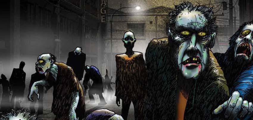 Cartoon of zombies at night