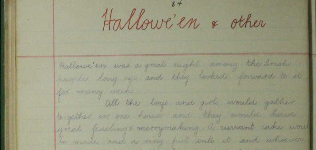 Picture of a handwritten halloween folklore journal entry.