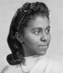 Black and white portrait of Marie Maynard Daly, looking away from the camera with a slight smile.