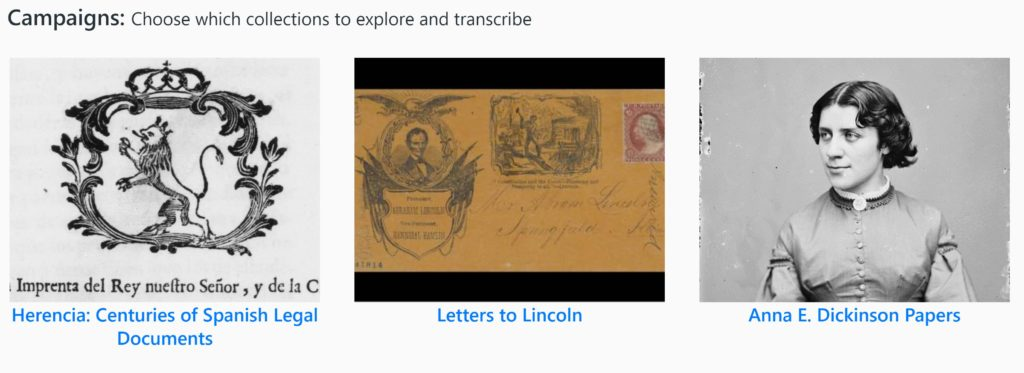 A screenshot of three different library of congress campaigns includes: Herencia: Centuries of Spanish Legal Documents, Letters to Lincoln, and Anne E. Dickinson Papers. Each campaign has a decorative thumbnail image.