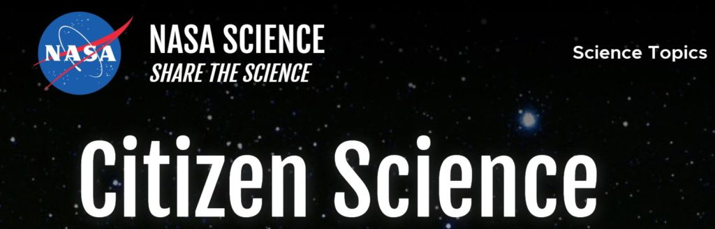 The top of the page for the NASA Science website that reads: NASA Science Share the Science Citizen Science.