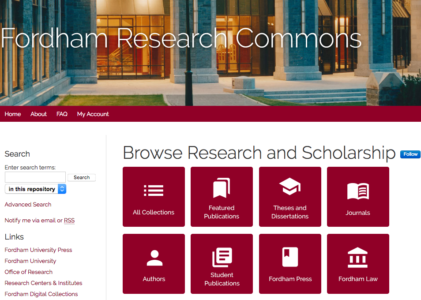 Fordham University Libraries Debuts Institutional Repository Update