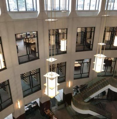 The Walsh Library atrium view looking down.