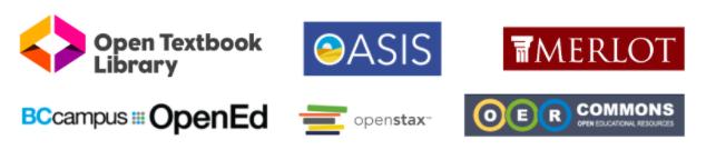 Logos for various OER providers.