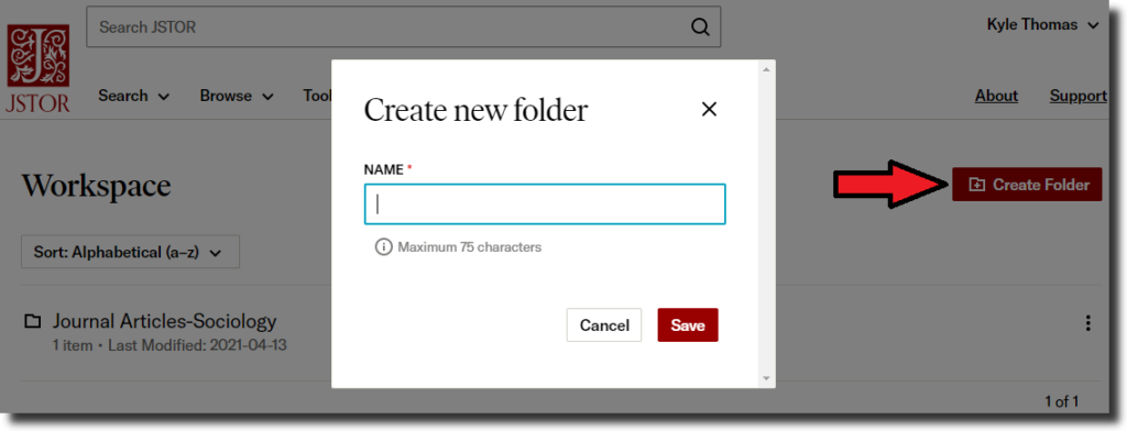 """Screenshot of a JSTOR database Workspace with a pop-up window to """"Create new folder."""""""