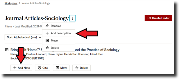 """Screenshot of a JSTOR database once the user clicks on the three-dot icon beside a folder's name. A dropdown menu appears. A red arrow points to """"Add Description"""" on the menu. Another arrow points to the """"Add Note""""button."""