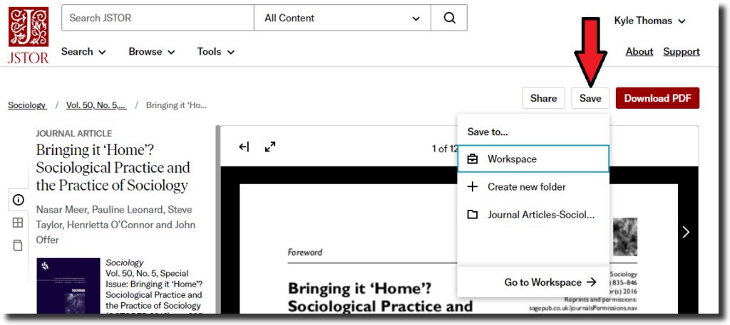 """Screenshot of journal article in JSTOR with a red arrow pointing to the """"Save"""" button above the article."""