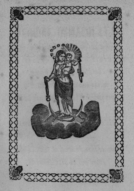Black and white illustration of the Virgin Mary holding a baby Jesus.