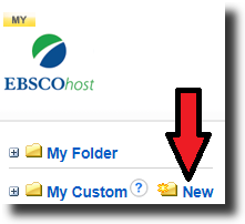 """Screenshot of an EBSCO database with a red arrow pointing to """"New"""" next to a folder icon."""