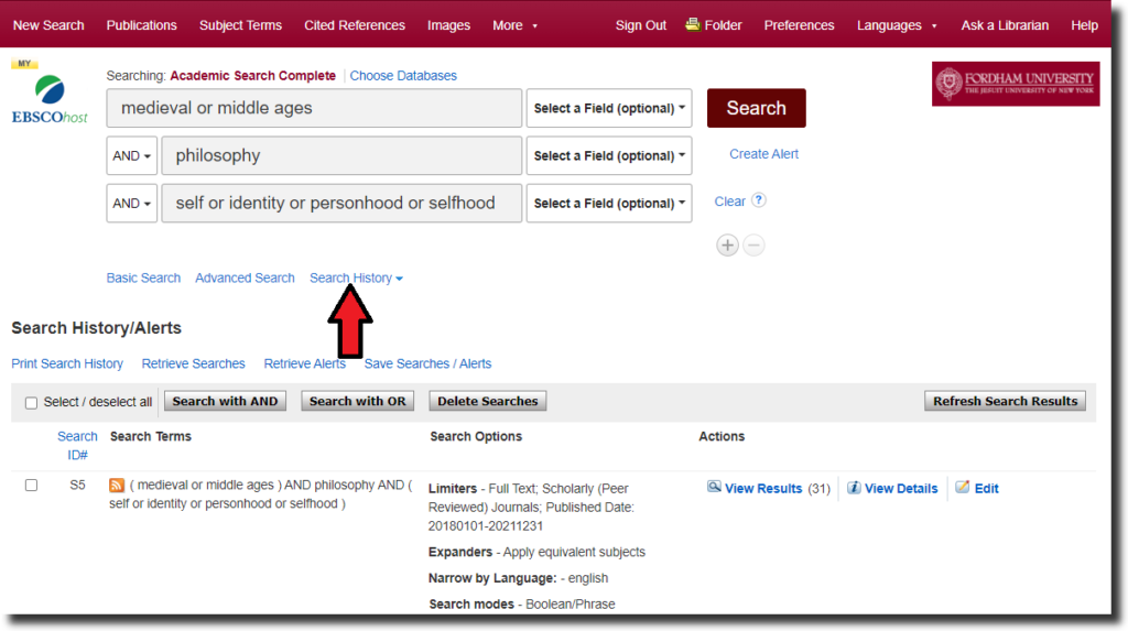 """Screenshot of an EBSCO database search screen, with a red arrow pointing to """"Search History"""" under the search fields."""