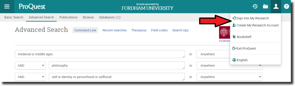 """Screenshot of a ProQuest database """"Advanced Search"""" screen with a dropdown menu selected and a red arrow pointing to """"Create My Research Account."""""""