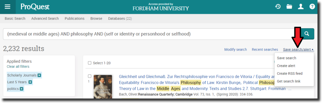 """Screenshot of a ProQuest database search results page with a red arrow pointing to """"Save search/alert."""""""