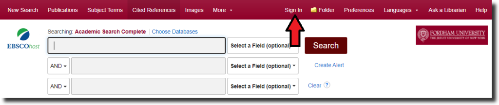 """Screenshot of an EBSCO database with a red arrow pointing to """"Sign In"""" at the top of the screen."""