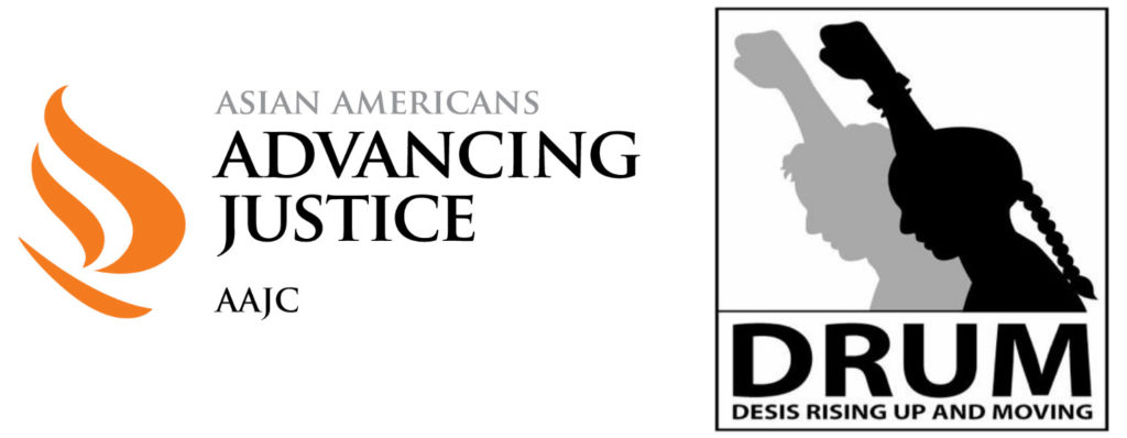 Logos for Asian Americans Advancing Justice and Desis Rising Up & Moving (DRUM).