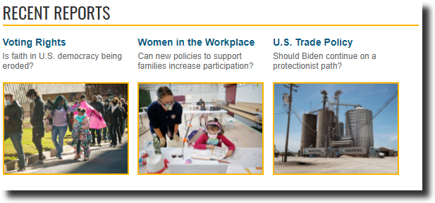 """A screenshot from CQ Researcher Online featuring recent reports. Three reports are listed: """"Voting Rights,"""" """"Women in the Workplace,"""" and """"U.S. Trade Policy."""""""