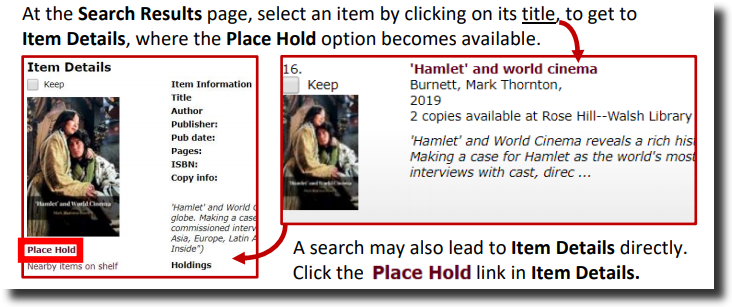 A screenshot with instructions on how to place a hold. At the search results page, select an item by clicking on its title to get to Item Details, where the Place Hold option becomes available. A search may also lead to Item Details directly. Click the Place Hold link in Item Details.